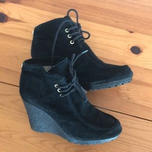 Michael Kors Black Suede Wedge Booties